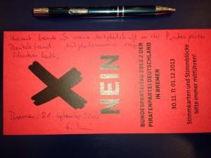 """Austritt auf einer """"Nein""""-Stimmkarte"""